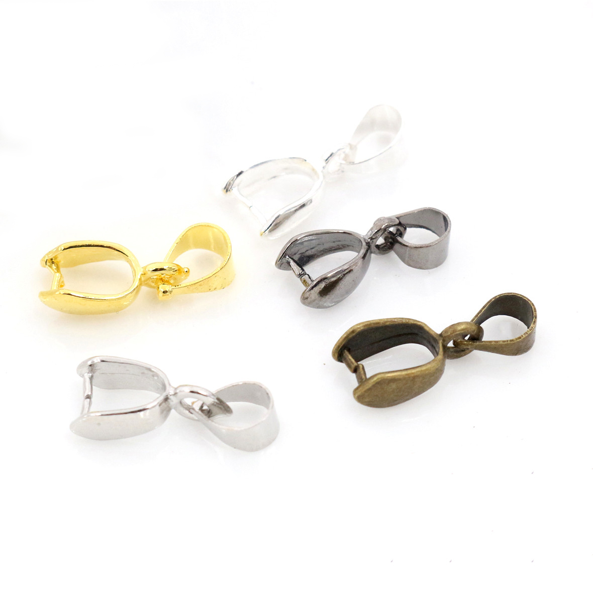 20pcs/lot 17x6mm 5 Colors Plated Pendants Clasps Clips Bails Connectors Copper Charm Bail Beads Jewelry Findings