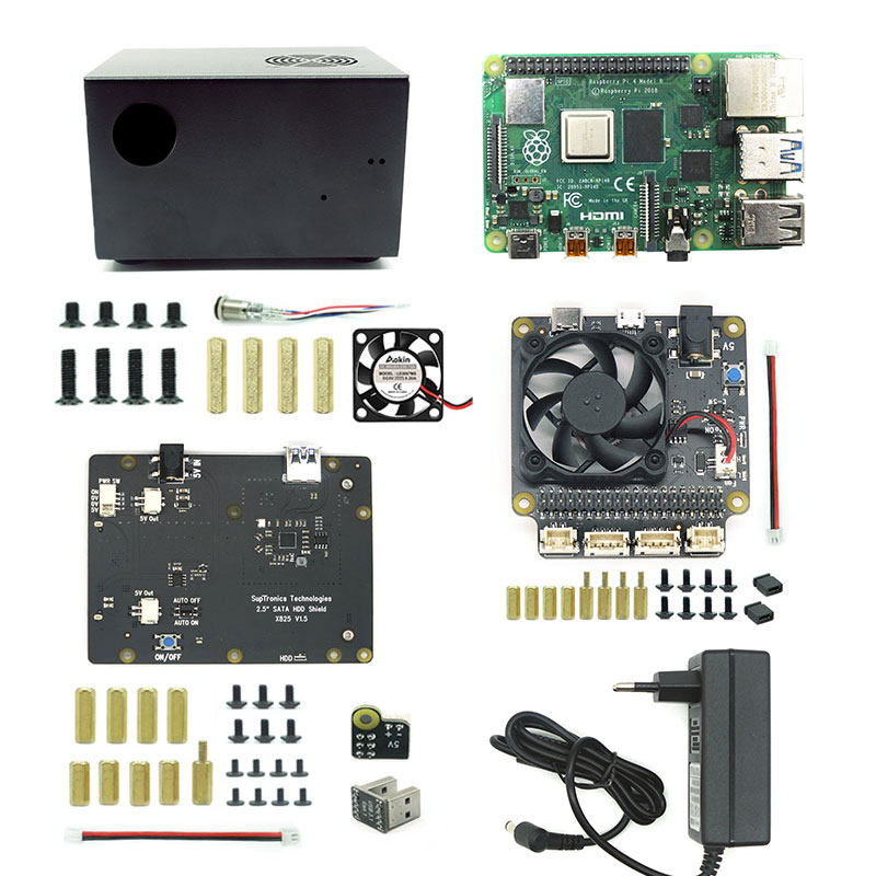 Raspberry Pi X825 SSD&HDD SATA Board Matching Metal Case+Switch+Cool Fan, Honeycomb Chassis For X825 Raspberry Pi 4 Model B X735