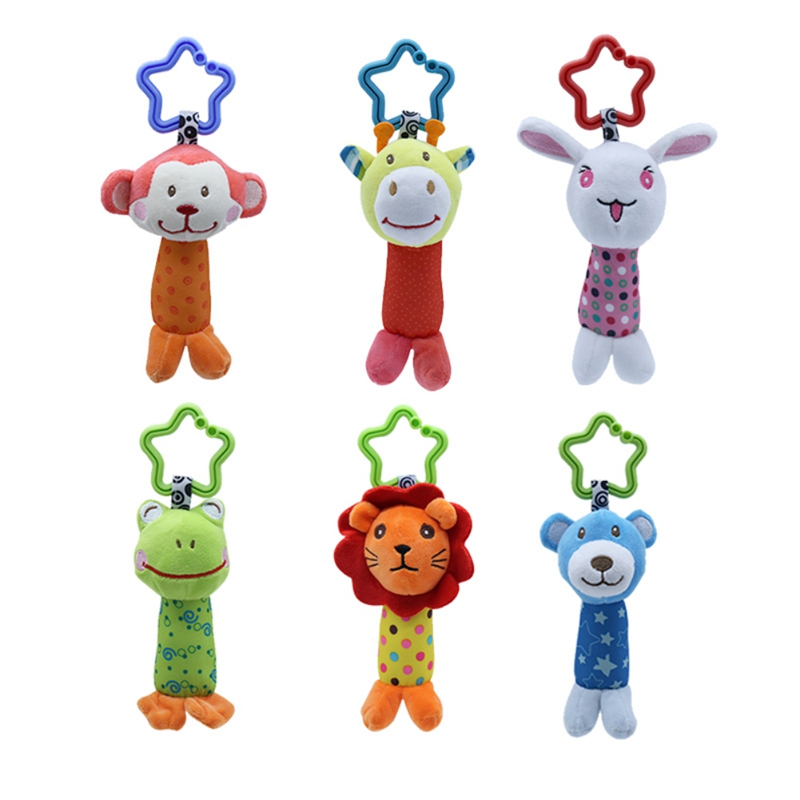 Cartoon Baby Kids Rattle Toys Animal Plush Hand Bell Baby Stroller Crib Hanging Rattles Infant Baby Toys Gift Under 3 Years