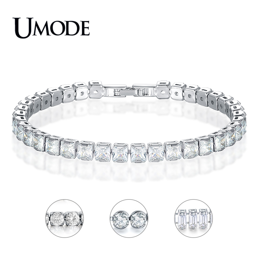 UMODE New Round Crystal Tennis Bracelets for Women Men Rectangle Square Zircon White Gold Long Box Chain Jewelry AUB0178X