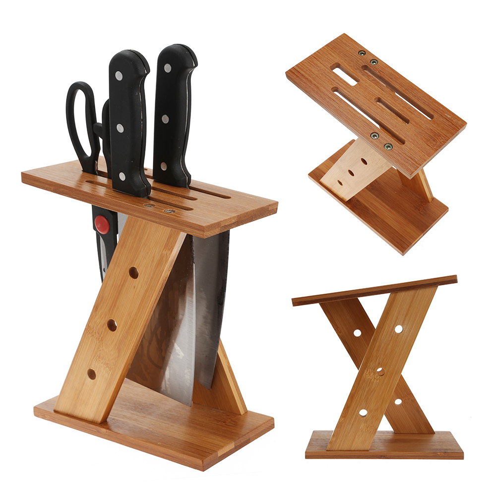Bamboo Wooden Kitchen Tool Knife Holder Rack Cutter Storage Rack Kitchenware Rack Creative Kitchen Knife Knives Accessories