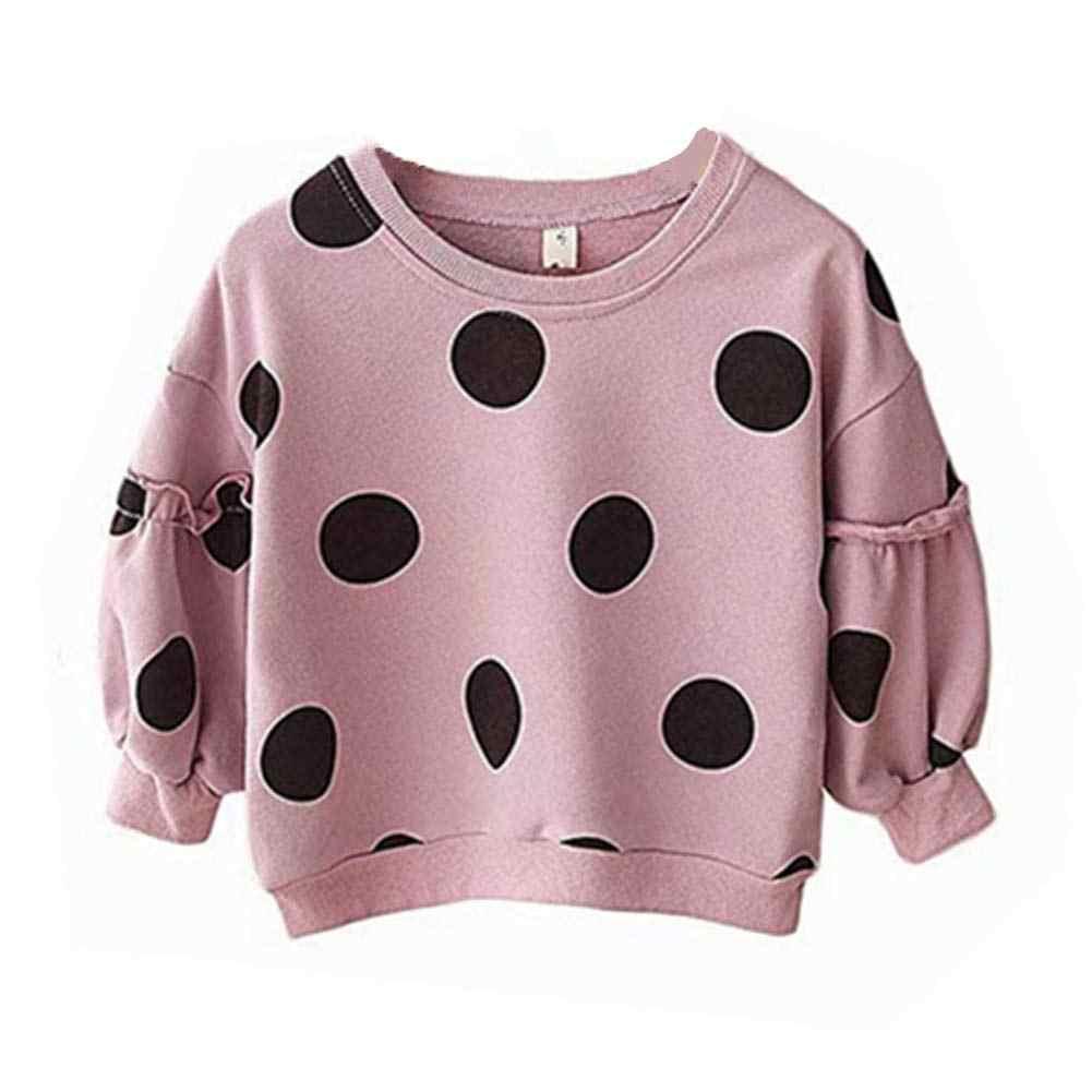아기 스웨터 후드 1-6Y 가을 사랑스러운 유아 아기 소녀 셔츠 탑스 도트 인쇄 풀오버 인과 의상 복장