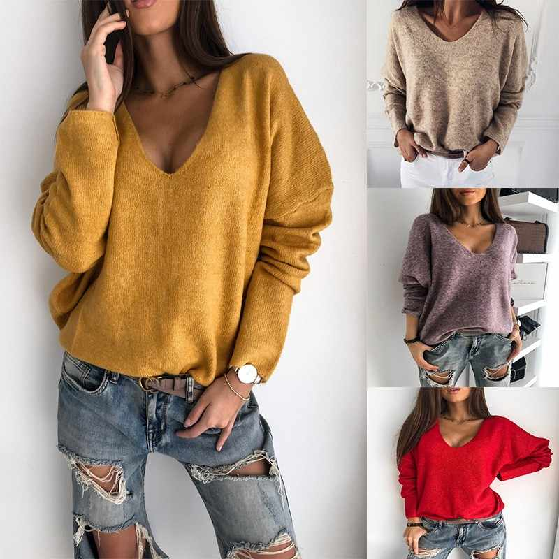 2019 Baru Musim Gugur Musim Dingin Wanita V-Leher Solid Sweater Wanita Rajutan Sweater Jumper Kasual Rajut Tarik Femme Jersey
