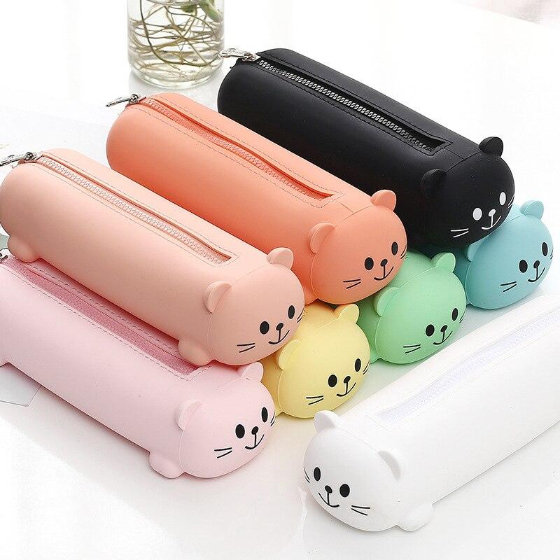Silicon Pencil Case Cute Bear Face Pen Bag Solid Color Kawaii Pencil Bag Simple Design Zipper Pen Pouch Candy Color Stationary