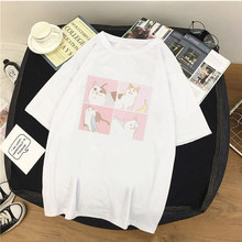 Camiseta Feminina de Manga Curta Roupas Casuais De Estilo Ulzzang Estampa De Gato Kawaii Harajuku Álbum