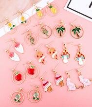 2020 new Korean girl cute fruit earrings ice cream apple earrings cactus ins earrings pineapple earrings