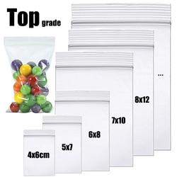 100 pçs claro zip sacos de bloqueio grosso ziplock plástico pequeno pacote de jóias saco de armazenamento reclosable poli zip sacos