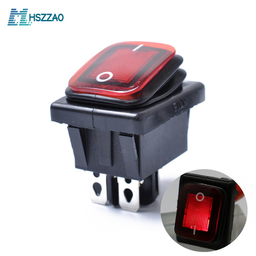12V 4PIN Waterproof Rocker Switch with Lamp Light Dpst DPST For Automobiles and Devices Equipped with DC Power Source Boat