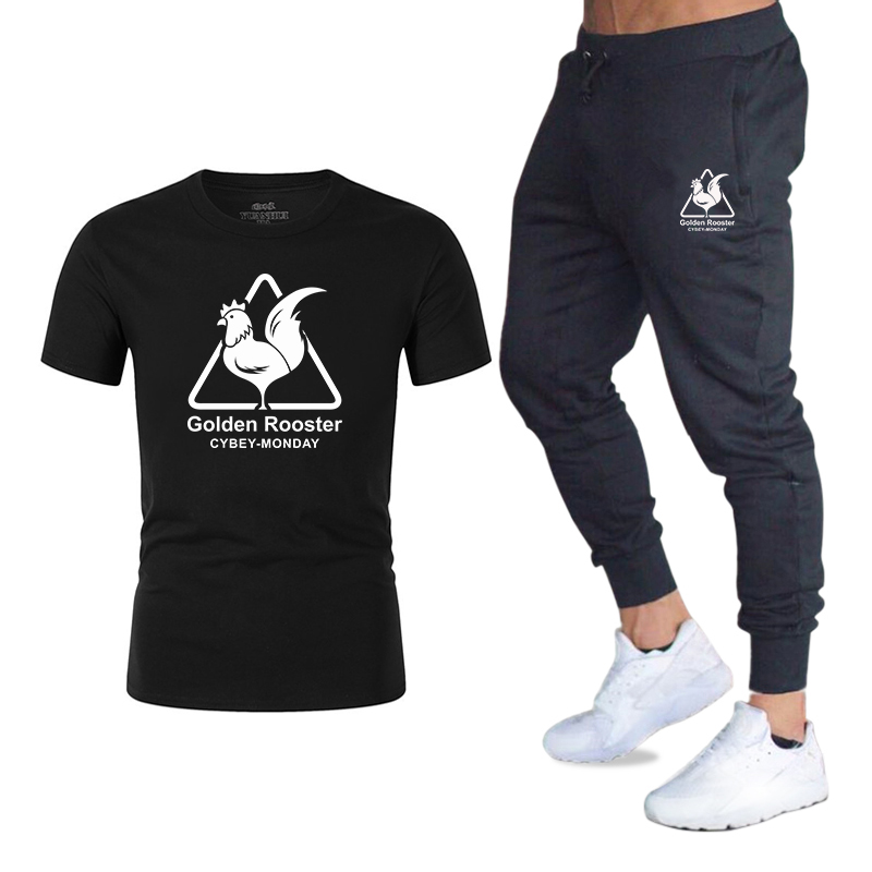 Summer New Men's Sets T Shirts+Trousers Two Pieces Sets Casual Tracksuit 2020 Tide Brand Tshirt Suits Gyms Fitness Sportswears