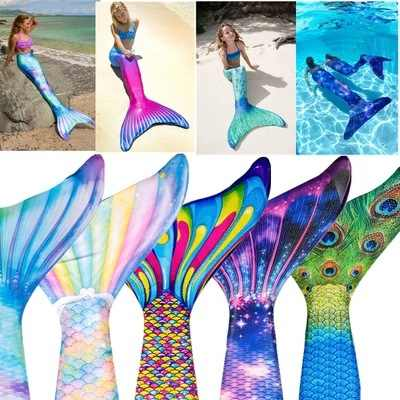 Mermaid Tails For Swimming Adult Kids Cosplay Costume Mermaid Tail Swimsuit Childen Girl Women Clothes No Monofin