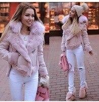 2019 New Women's fashion European and American deerskin faux fur coat jacket Furry Top Furry Pink Jacket