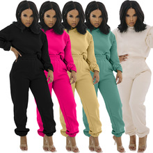 Fashion Clothing Tracksuit High-Quality Outfit-Set Female Solid-Color Casual Women 2piece