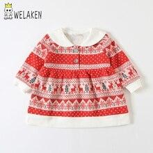 weLaken Girls Dresses Boutique Christmas Costume For Toddler Kids Peter Pan Collar Long Sleeve Pattern Dress