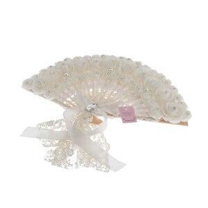 Image 5 - الدانتيل الورود الزهور تصميم البلاستيك للطي باليد مروحة (أبيض)