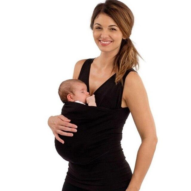 Mamá niñera camiseta sin mangas sólida paternidad bebé Madre Canguro T camisa de las mujeres de verano