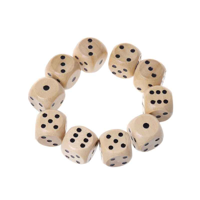 New 10 Pcs 6 Sided Wood Dice Point Cubes Round Corner Party Kid Toys Game 14*14*14mm Whosale&Dropship