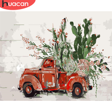 Home-Decor Numbers-Flower-Kits Painting-Art By Number Drawing Car-Diy-Pictures Huacan-Paint