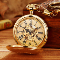 Vintage Gold Mechanical Pocket Watch Men Vintage Hollow Hand Wind Fob Clock With Chain Pendant Men Women Luxury Gift