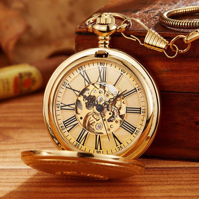 Relógio de Bolso Homens do Vintage Cadeia para Mulheres dos Homens de Presente de Luxo do Ouro do Vintage Fob com Pingente Mecânico Vento Relógio Oco Mão