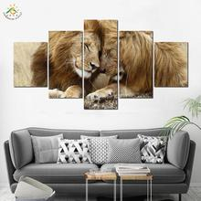 Sweet Lions Couple Love animal print wall art canvas painting decor pictures decoration home 5 piece