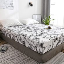Protector Mattress-Cover Topper Fitted-Sheet Bed Slip-Queen Air-Permeable Bed-Pad Marble-Pattern