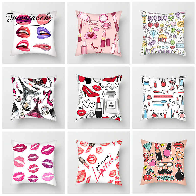 Fuwatacchi Lipstick Makeup Hand Painted Cushion Cover Perfume Bottles Pillow Cover For Sofa Home Chair Decoration Pillowcases Cushion Cover Aliexpress