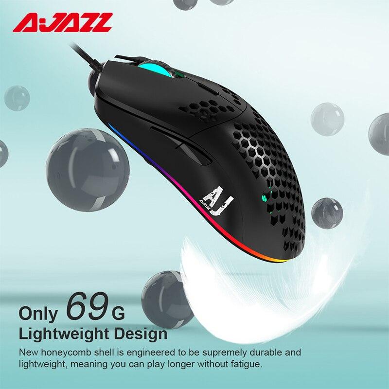 Ajazz aj390 gaming mouse 6 cores led luz 16000 dpi ajustável 7 teclas favo de mel oco design 69g leve abs mouse com fio|Mouse| |  - title=