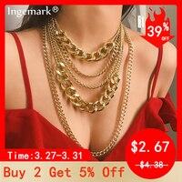 Ingmark ethnique cubain collier ras du cou collier femmes mâle bijoux Multi couche en aluminium épais chaîne collier épais Steampunk homme