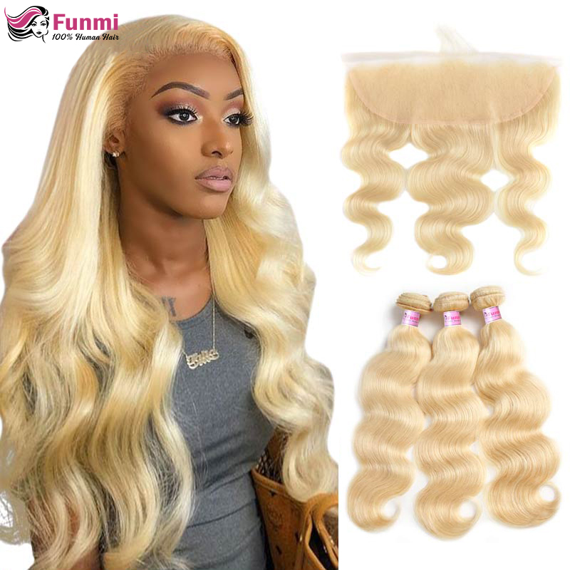 Funmi 613 Blonde Bundles With Frontal Brazilian Body Wave With Frontal Remy Blonde Human Hair Lace Frontal Closure With Bundles