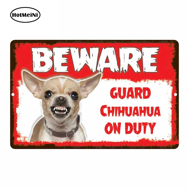 HotMeiNi 13cm X 8.5cm Car Sticker Beware Guard Chihuahua Dog On Duty Novelty Aluminum Metal Sign Car Styling