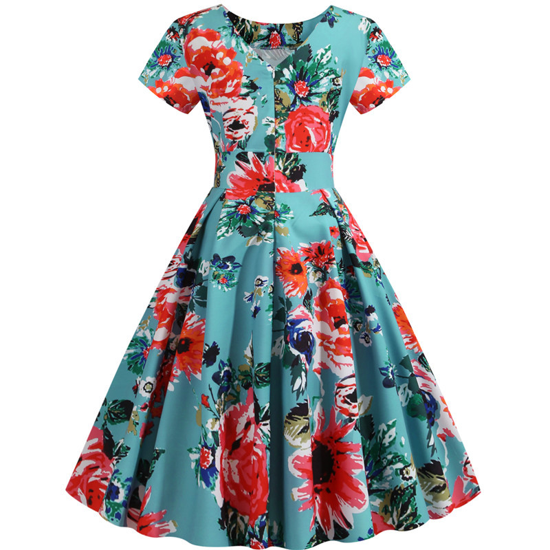 Summer Floral Print Elegant A-line Party Dress Women Slim White Short Sleeve Swing Pin up Vintage Dresses Plus Size Robe Femme 256