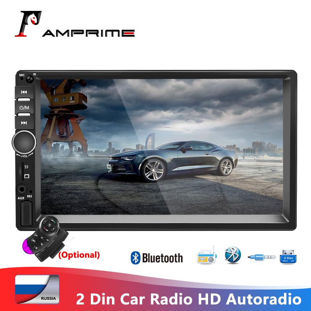 AMPrime 7018B 2 Din Car Radio HD Autoradio LCD Touch Screen Car Stereo MP5 Player Support Rear View Camera With Remote Control image