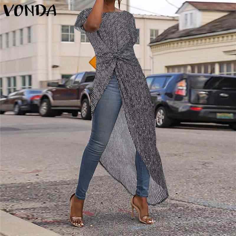 סימטרי טוניקת חולצות נשים חולצה אביב 2019 VONDA סקסי פיצול פס מודפס קצר שרוול חולצות נקבה Blusas גדול