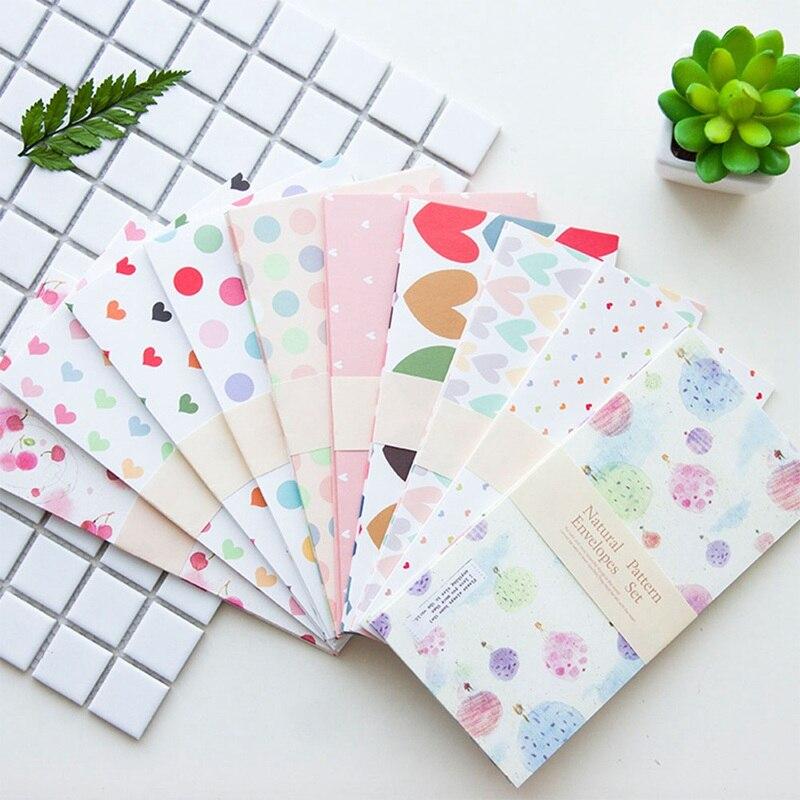 Korean Envelope Cartoon Cute Envelope Romantic Cartoon Pattern 5 Suits For Wedding Party Letter Invitations Random Color
