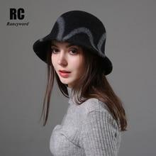 [Rancyword]  Female Wool Hat Adult Winter Warm Fedoras Hats Wide Brim Fishermans Cap Autumn Basin Elegant RC2074