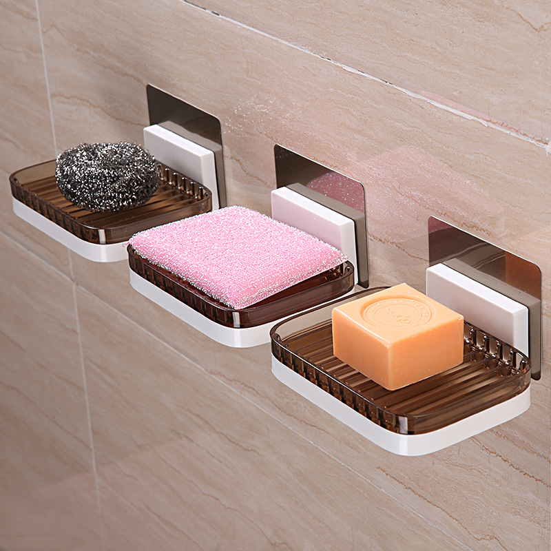 Detachable Wall Mounted Adhesive Bathroom Soap Hanger Holder Punch-free Kitchen Soap Box Storage Shelf Drain Rack