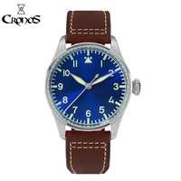 Cronos Pilot Flieger Mechanical Men Watch Stainless steel Super Luminous Sapphire Crystal Skeleton Back Leather Strap