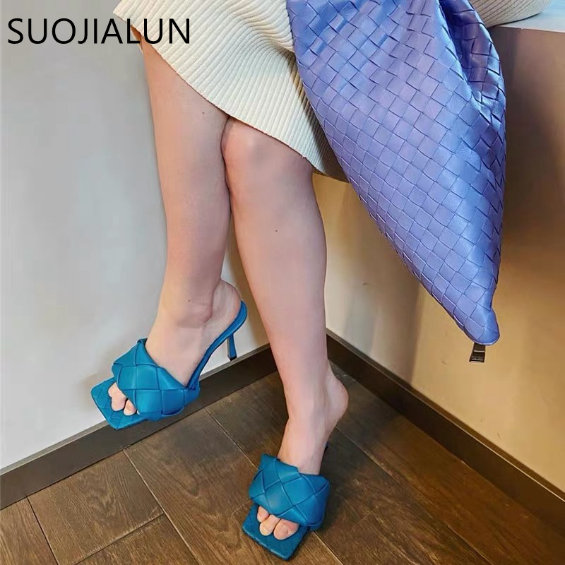 SUOJIALUN Fashion Brand Design Women Slipper Thin High Heels Square Toe Sandal Slipper Summer Ladies Slide Elegant Dress Shoes