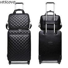 Trolley-Bag Rolling-Luggage-Set Travel-Suitcase 24inch Light-Wheel Spinner Women PU VESCOVO