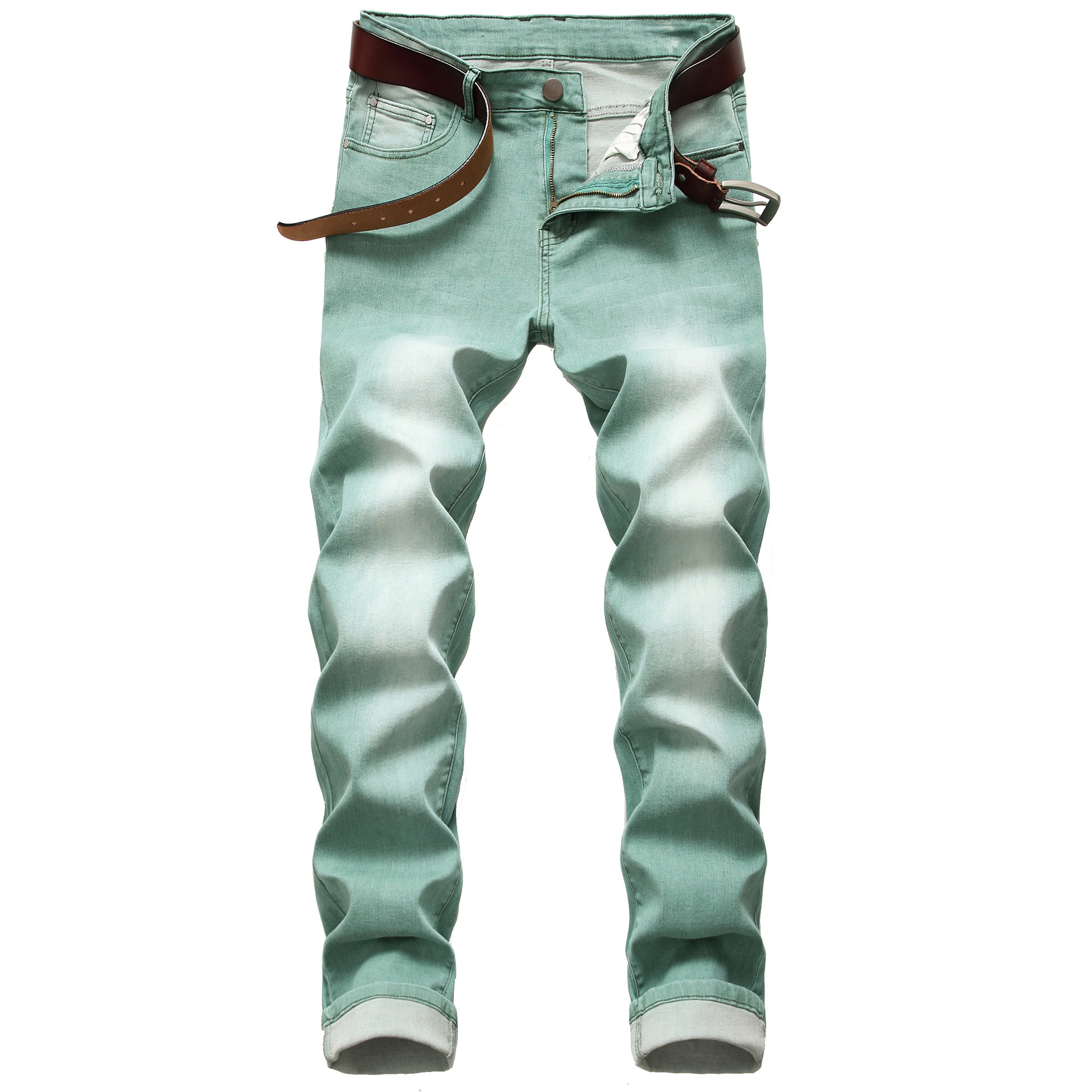 2020 AUTUMN Spring Men's Ripped Green Street HIP HOP Punk Stretch Bike Jeans Trendy Holes Straight Denim Trouers