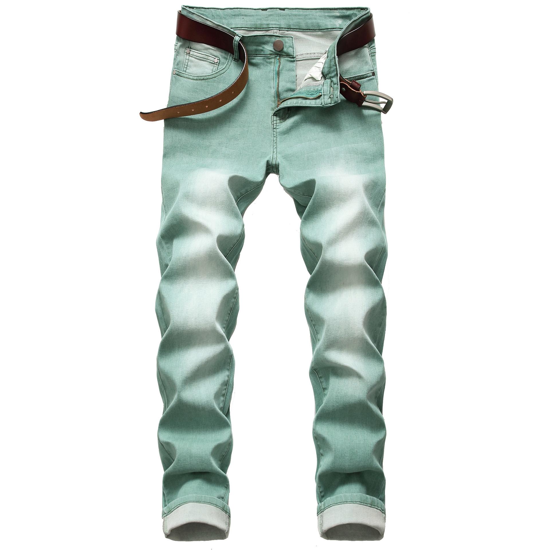2020 AUTUMN Spring Men's Ripped Green Street HIP HOP Punk Stretch Bike Jeans Trendy Holes Straight Denim Trouers