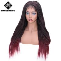 Spring sunshine Synthetic Straight Senegalese Twist Braid Wig Lace Front Wig Crochet Twist Braiding Hair Ombre Burgundy