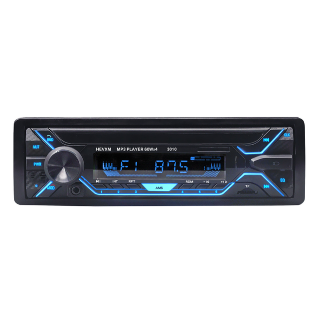 HEVXM 3010 Color Light MP3 Player Car Stereo Audio In dash Single 1 Din FM Receiver Aux Input SD MP3 MMC WMA Radio Player