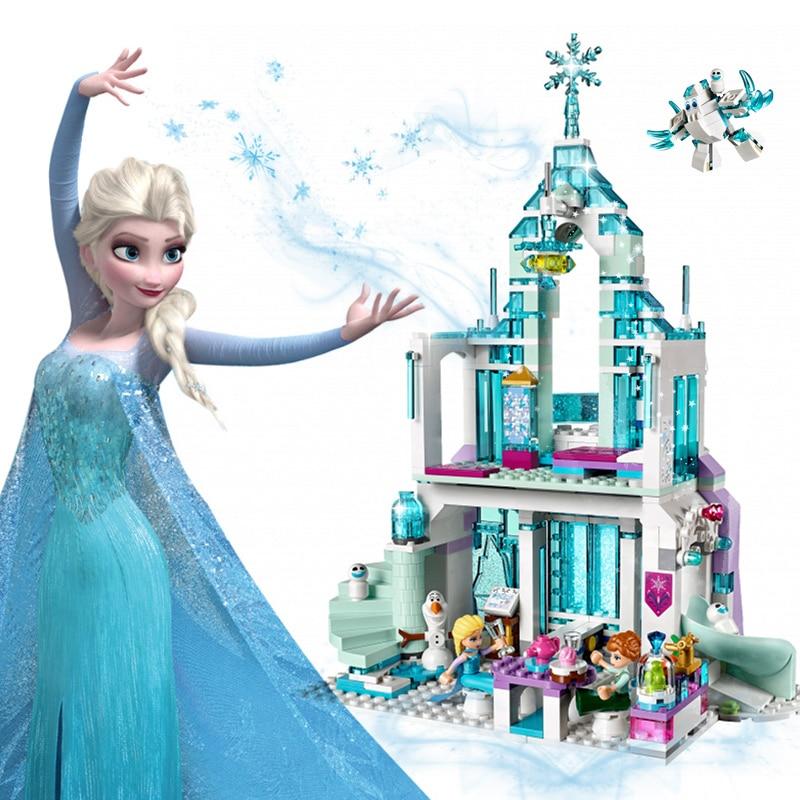 2018 Friends Series Elsa Anna Figures Dress Up Building Block Toys Compatible Legoinglys Girl Friends Princess Castle Toys
