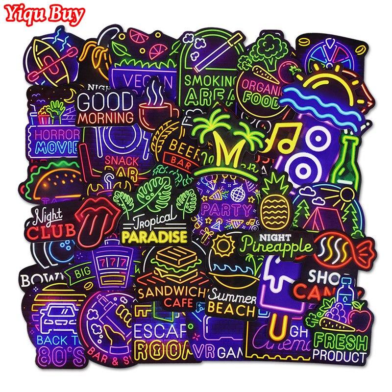 50 шт., неоновые наклейки для детских игрушек, велосипеда, телефона, чемодана, гитары, бампера, скейтборда, рюкзака, JDM граффити, водонепроница...