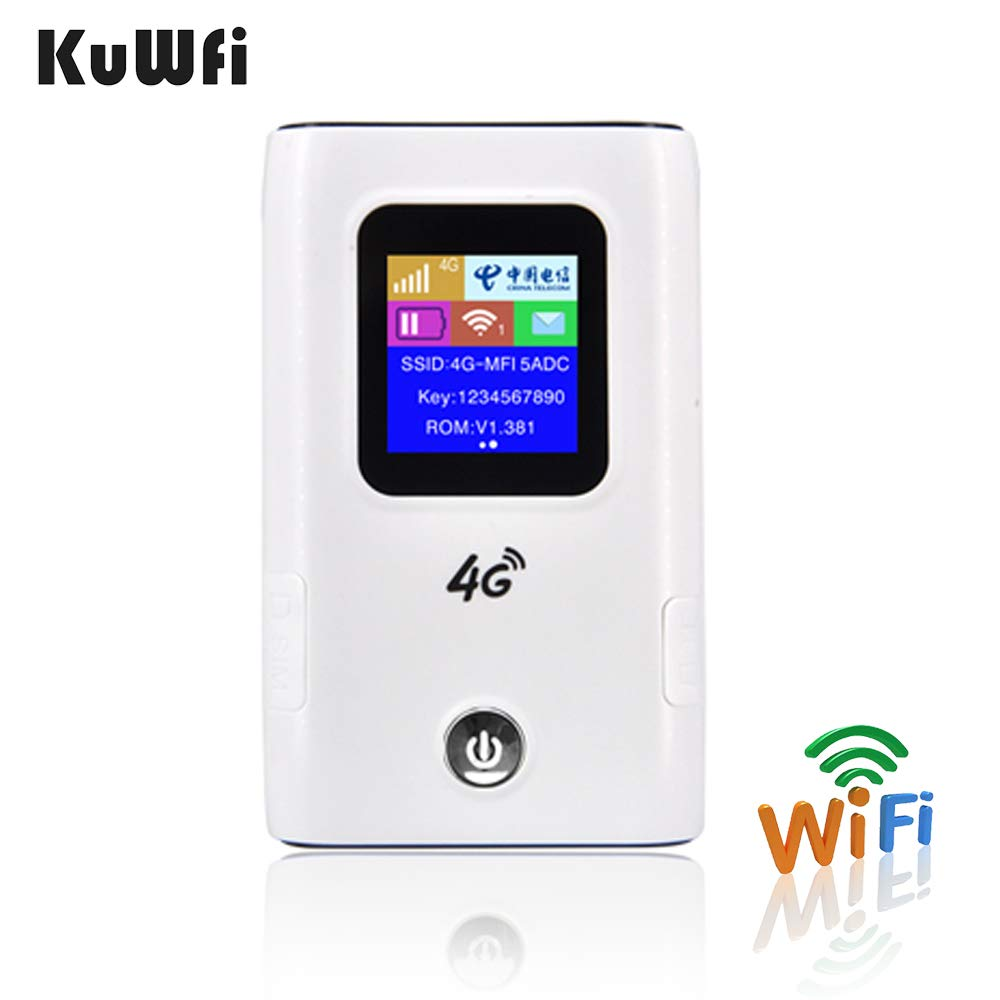 KuWFi 4G WiFi Router 5200mAh Power Bank 4G LTE Pocket Mobile Wifi Hotspot Unlock FDD/TDD Global Sim Card Up To 10 User
