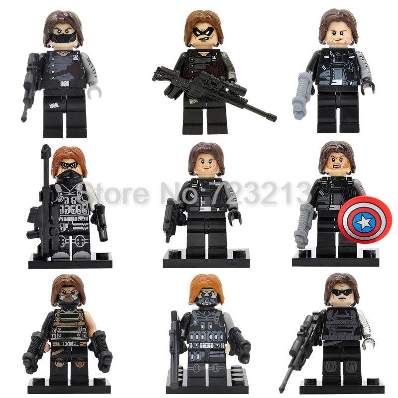 Winter Soldier Single Super Hero Bucky Barnes Figure Marvel The Avengers Building Blocks Set Bricks Toy For Children Legoing
