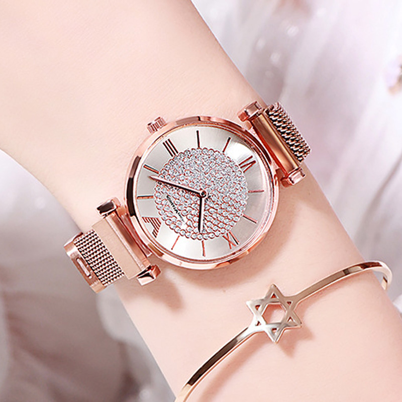 Ladies Watch 2019 Top Brand Women Rose Gold Wrist Watches For Women Relogio Feminino Luxury Diamond Magnetic Mesh Quartz Clock