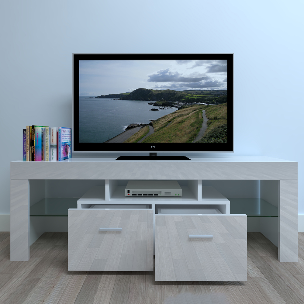 White Household Decoration LED TV Cabinet With Two Drawers Ship Fast