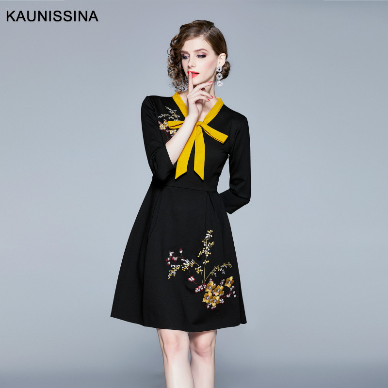 KAUNISSINA Women Vintage Dress Embroidery A-Line Cocktail Dresses Bownot Elegant Party Gown Spring Autumn High Quality Vestido